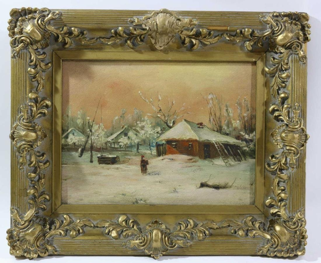 19TH C ENGLISH OIL ON BOARD IN GILDED FRAME - 4
