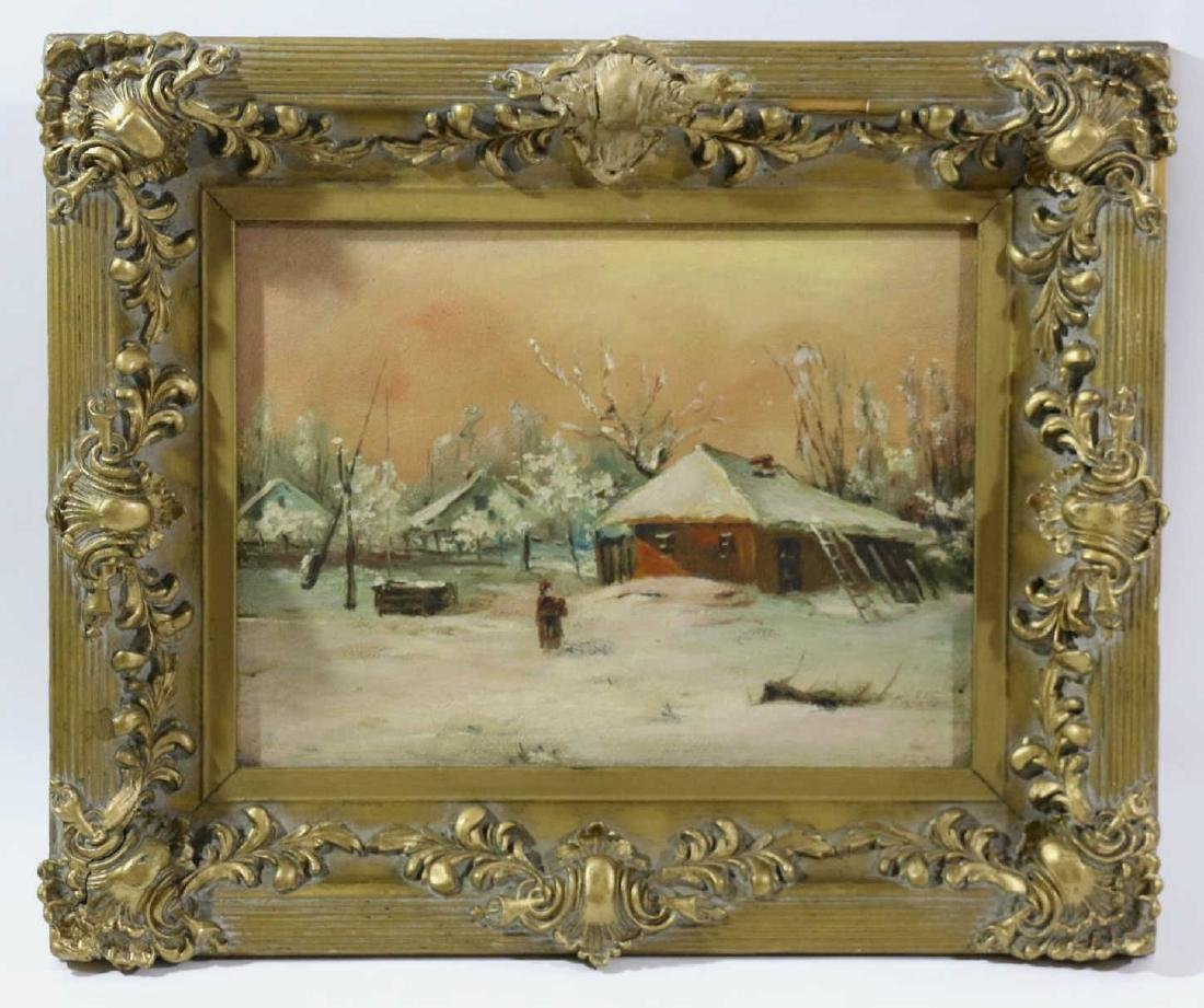 19TH C ENGLISH OIL ON BOARD IN GILDED FRAME - 6