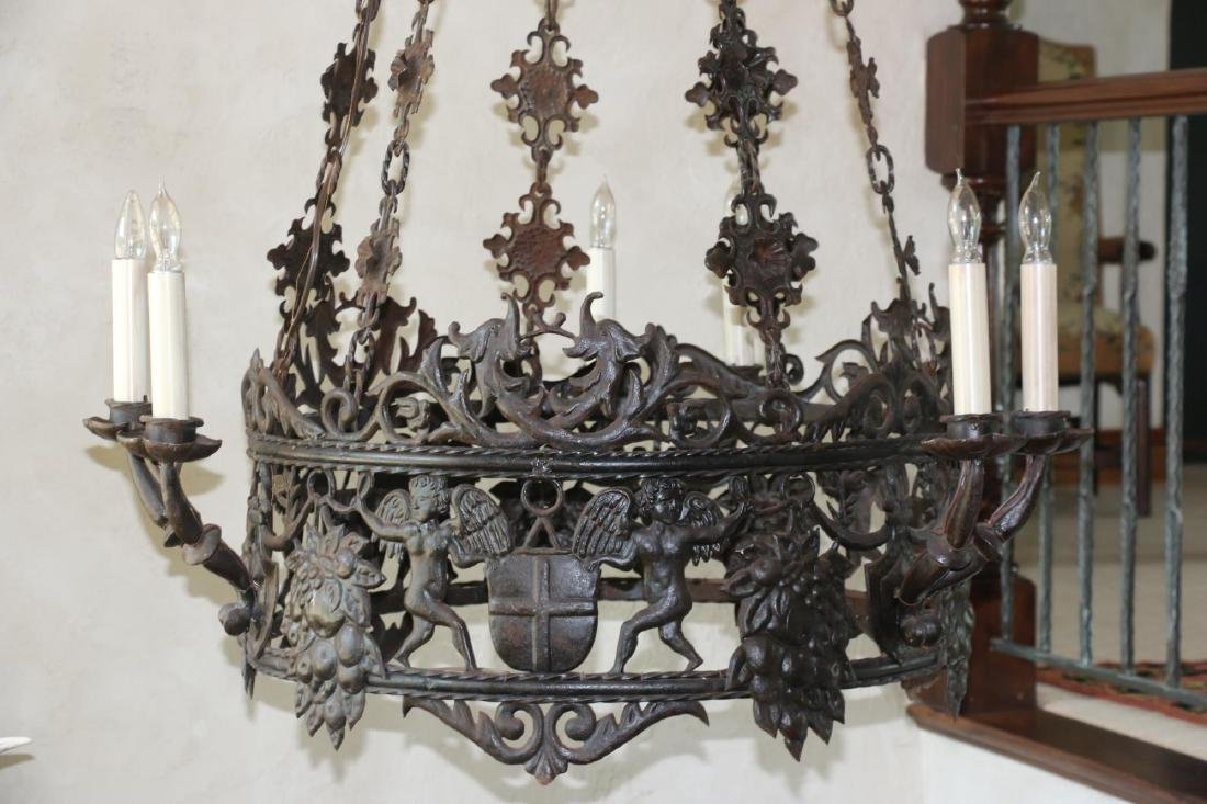 ANTIQUE WROUGHT IRON CHANDELIER - 4