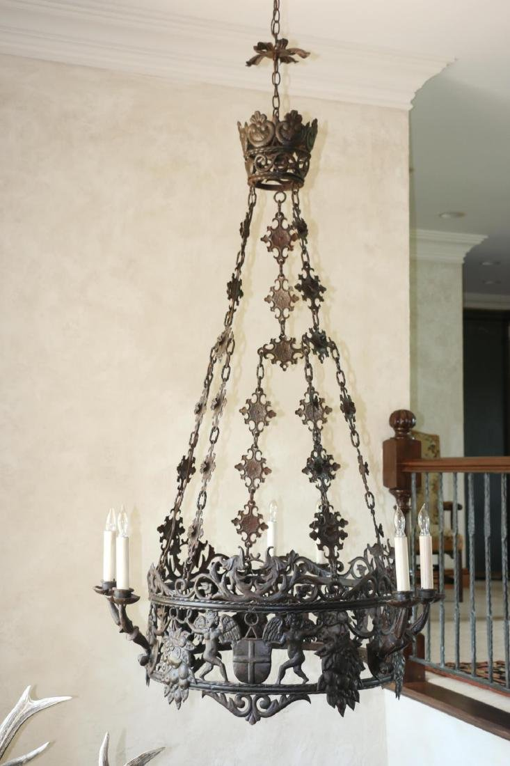 ANTIQUE WROUGHT IRON CHANDELIER - 5