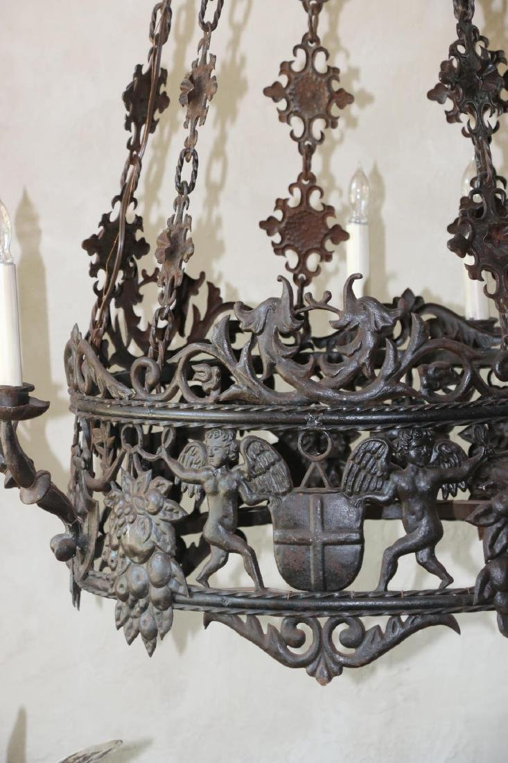 ANTIQUE WROUGHT IRON CHANDELIER - 7