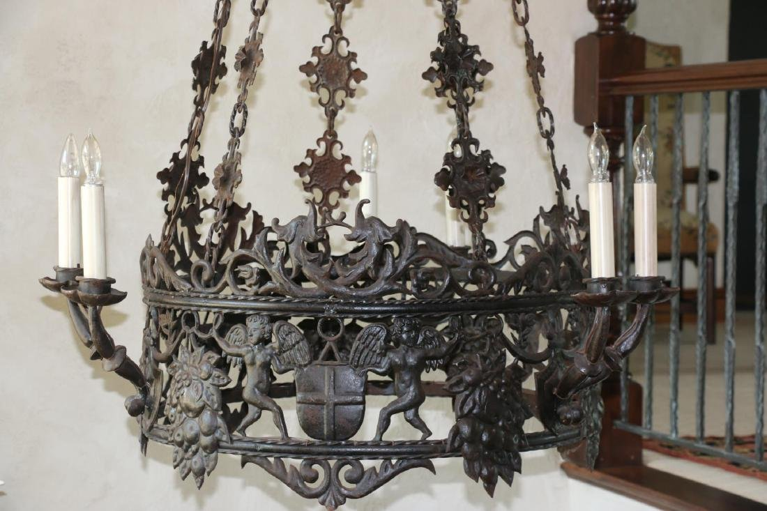 ANTIQUE WROUGHT IRON CHANDELIER - 8