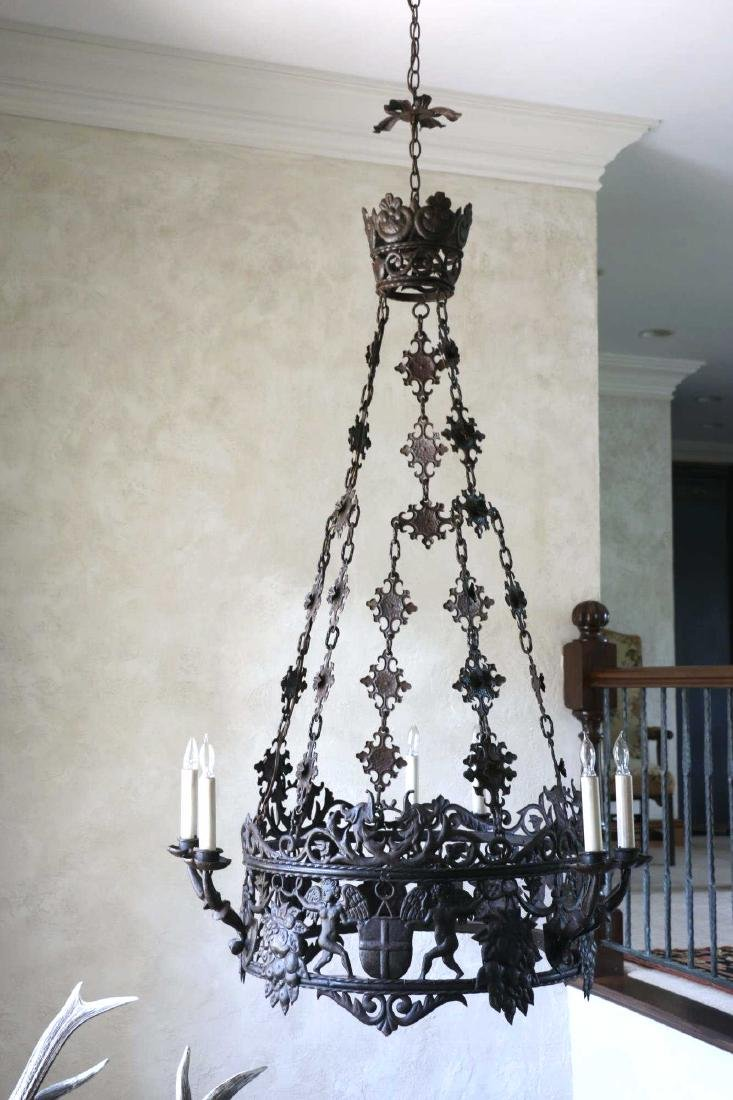 ANTIQUE WROUGHT IRON CHANDELIER - 9