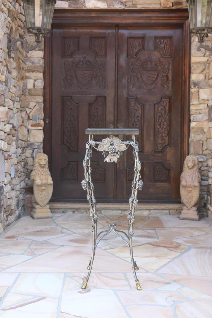 MARBLE TOP WROUGHT IRON HOOF FOOTED PLANT STAND