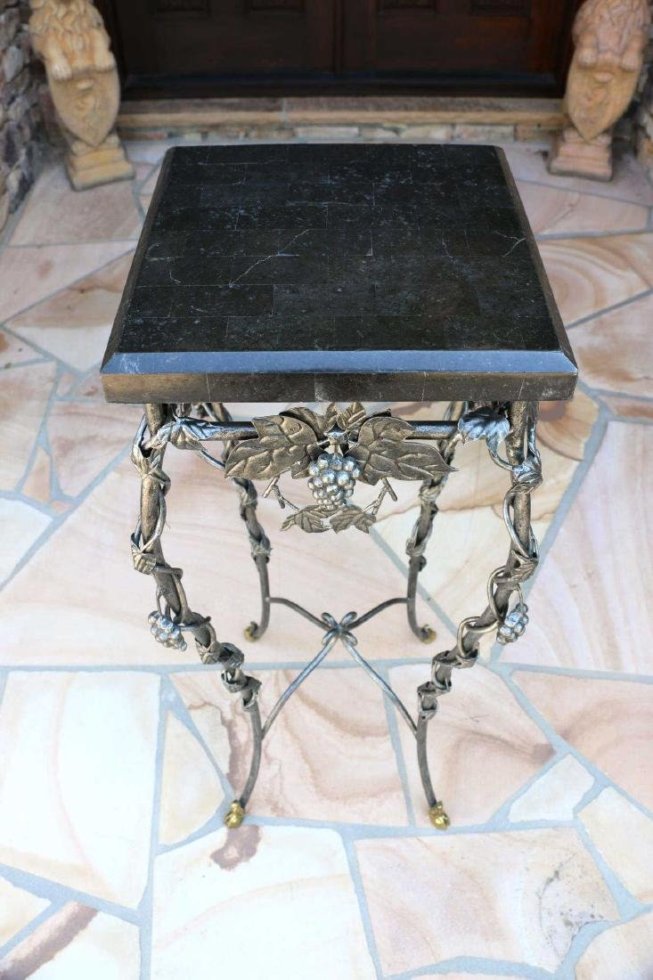 MARBLE TOP WROUGHT IRON HOOF FOOTED PLANT STAND - 4