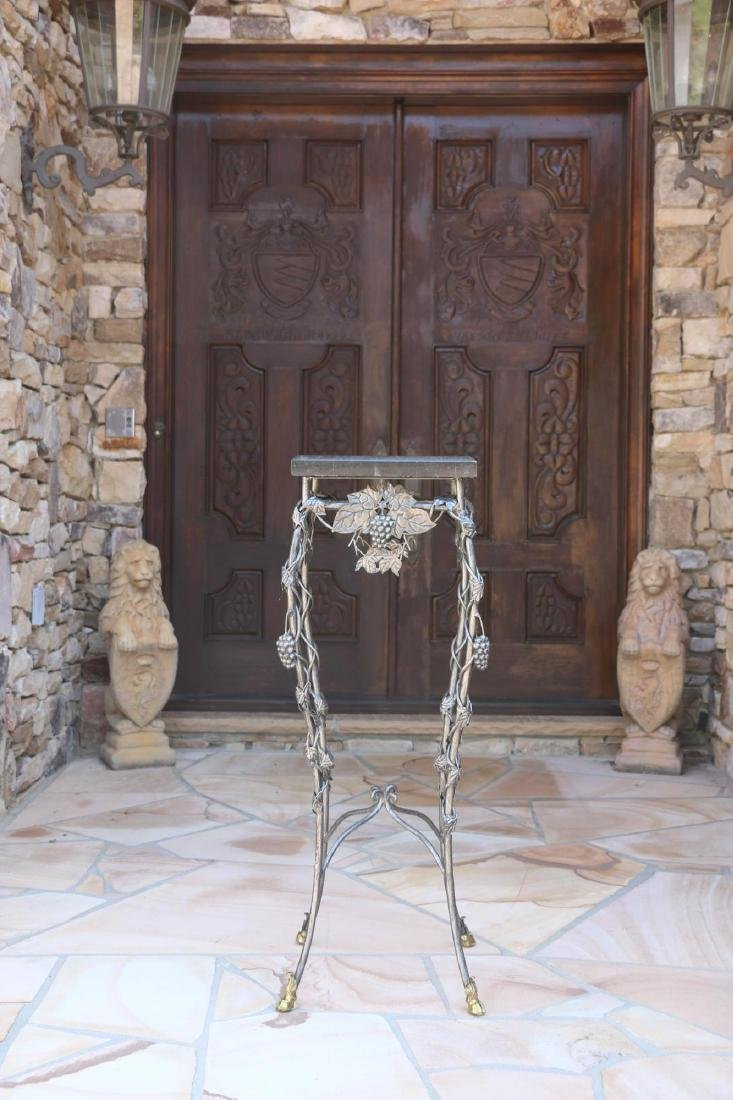 MARBLE TOP WROUGHT IRON HOOF FOOTED PLANT STAND - 5