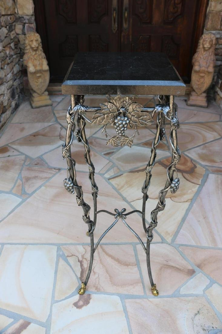 MARBLE TOP WROUGHT IRON HOOF FOOTED PLANT STAND - 7