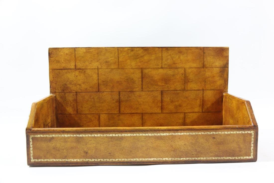 MAITLAND SMITH TOOLED LEATHER BOOK SPINE CADDY - 2