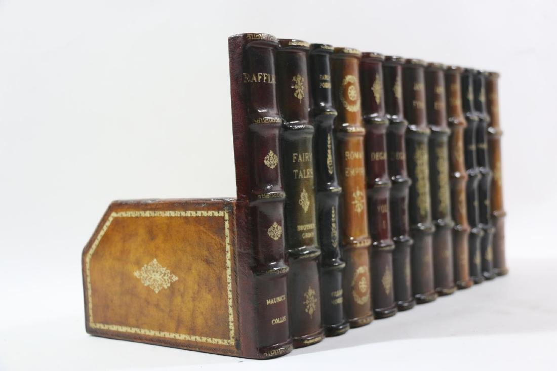MAITLAND SMITH TOOLED LEATHER BOOK SPINE CADDY - 5