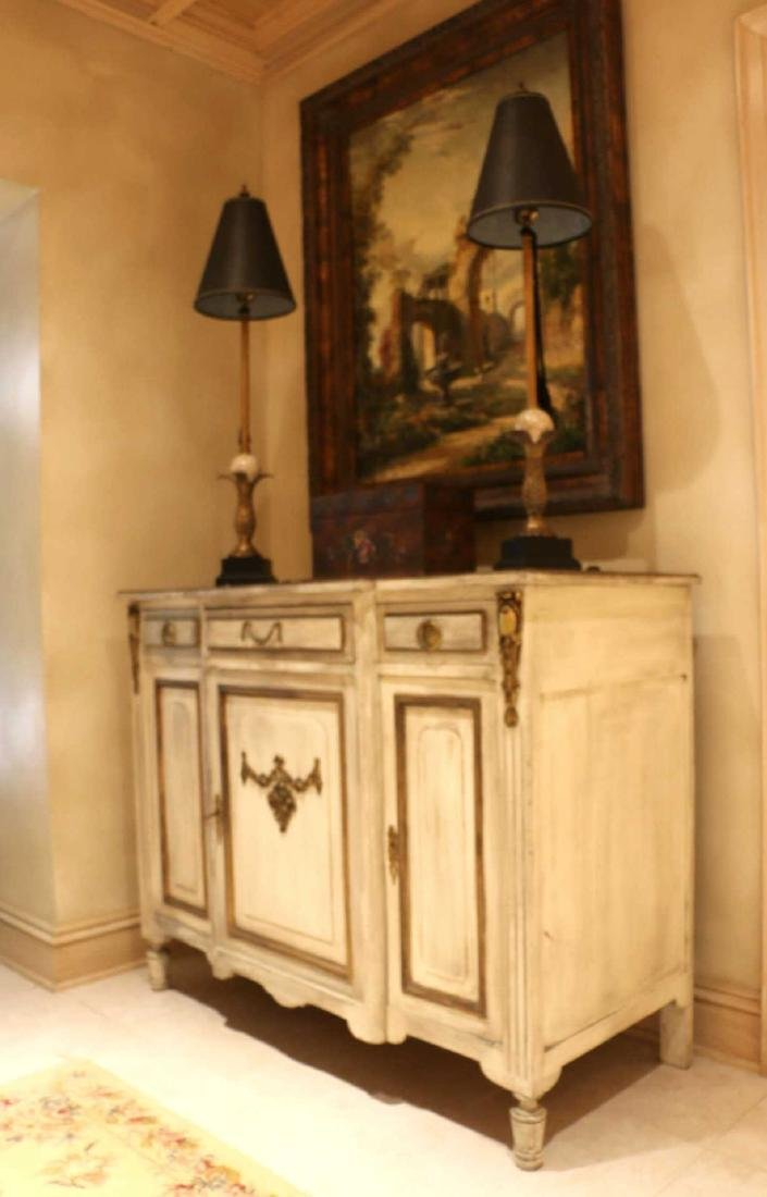FRENCH ANTIQUE PAINTED DECORATED COMMODE
