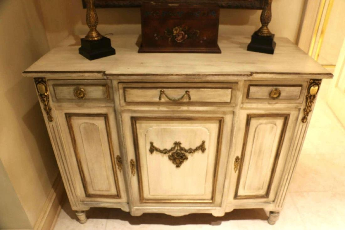 FRENCH ANTIQUE PAINTED DECORATED COMMODE - 2
