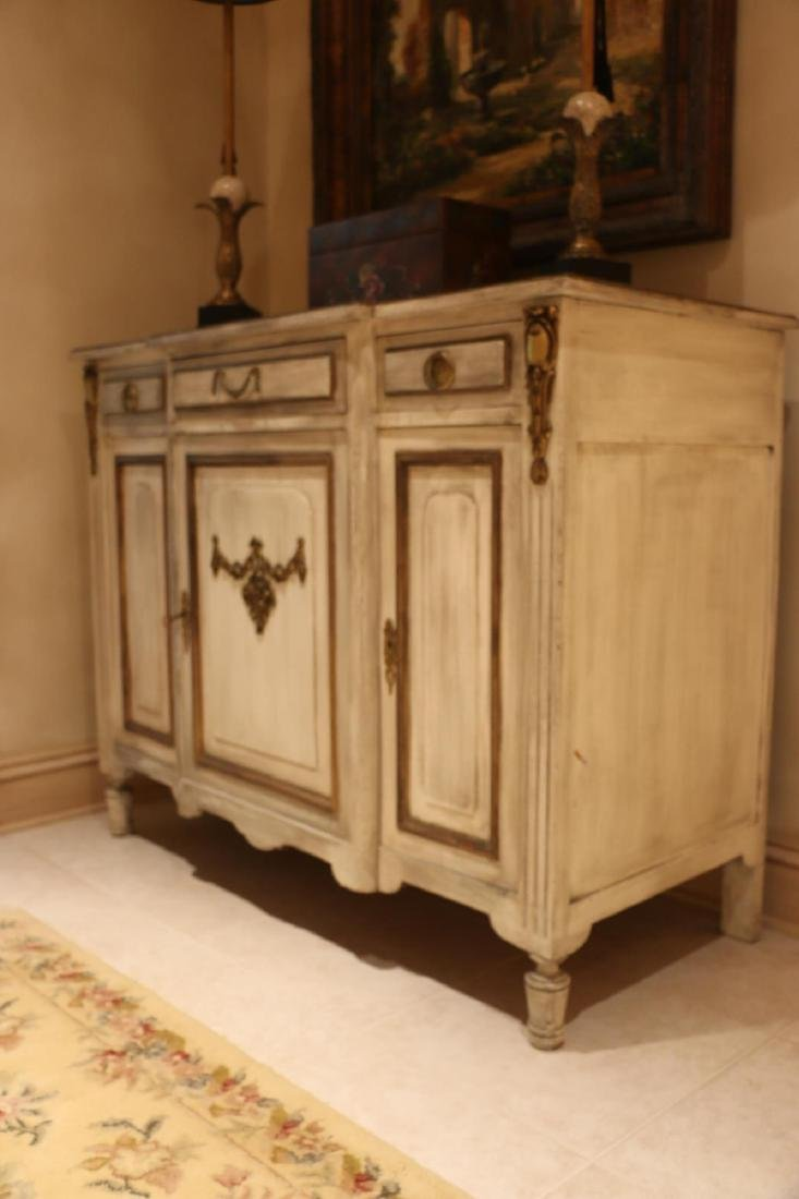 FRENCH ANTIQUE PAINTED DECORATED COMMODE - 4