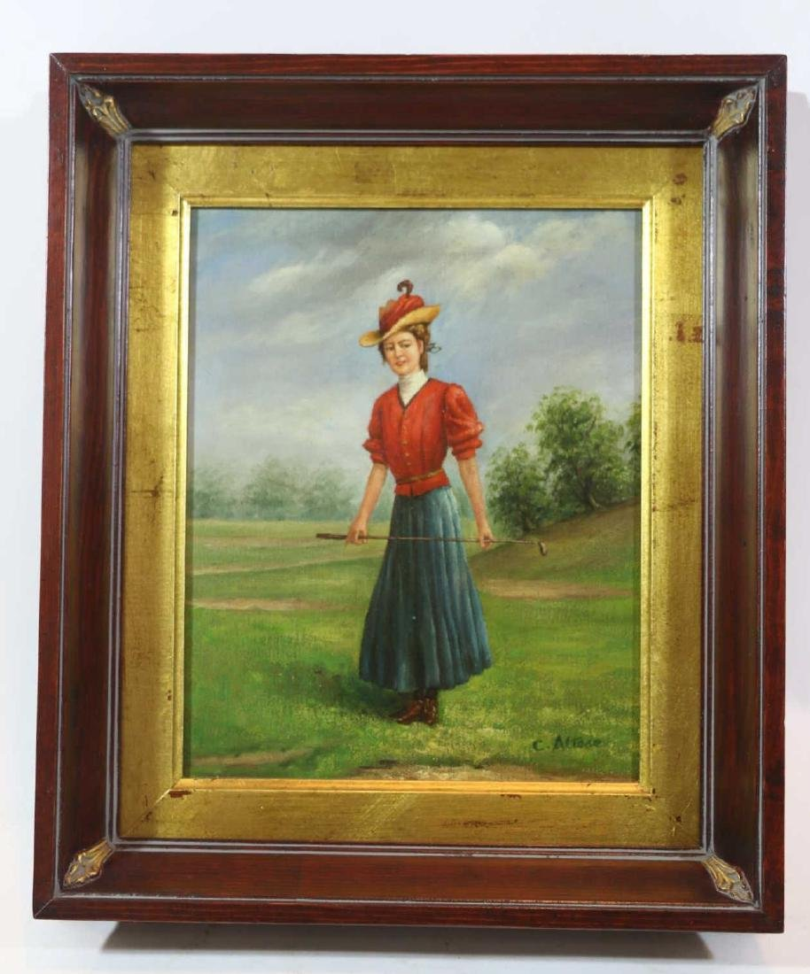 OIL ON CANVAS PORTRAIT OF LADY GOLFER SIGNED