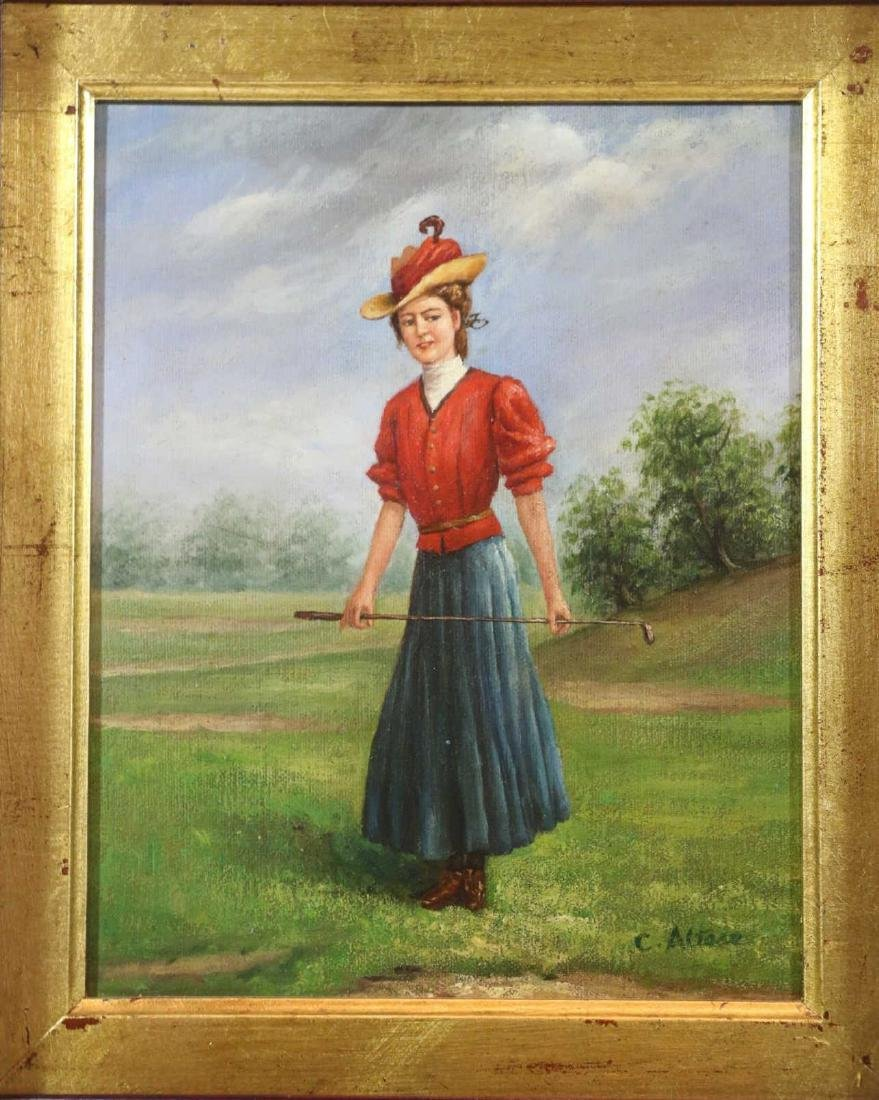 OIL ON CANVAS PORTRAIT OF LADY GOLFER SIGNED - 2