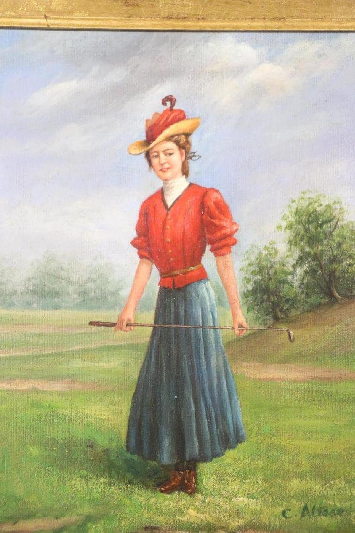OIL ON CANVAS PORTRAIT OF LADY GOLFER SIGNED - 3
