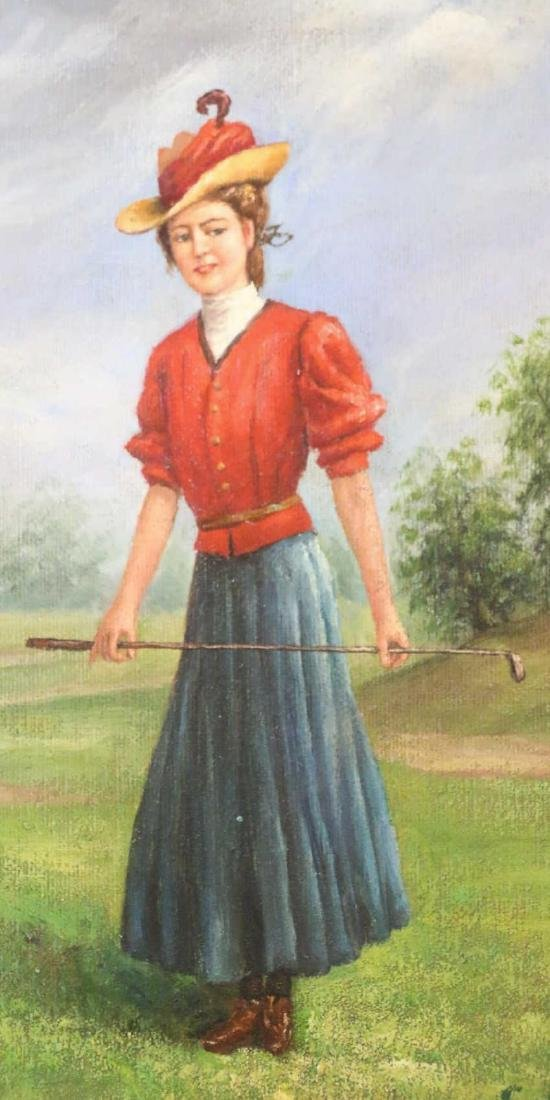 OIL ON CANVAS PORTRAIT OF LADY GOLFER SIGNED - 4