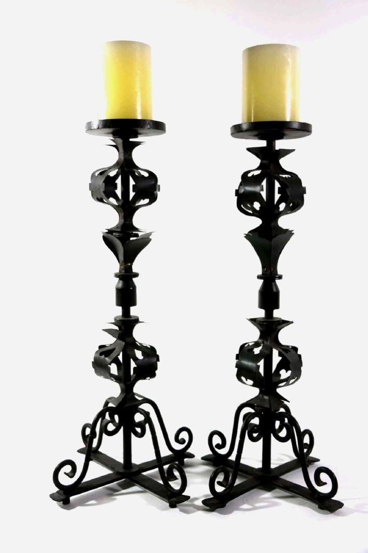 PAIR OF WROUGHT IRON CANDLE PRICKS - 3