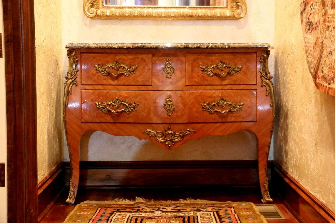 FRENCH ANTIQUE INLAID MARBLE TOP BOMBE COMMODE