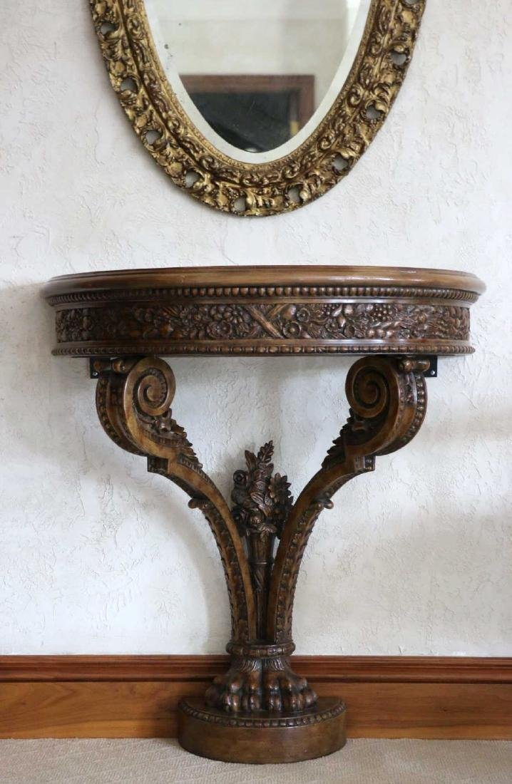 MAITLAND SMITH HAND CARVED DEMILUNE CONSOLE TABLE