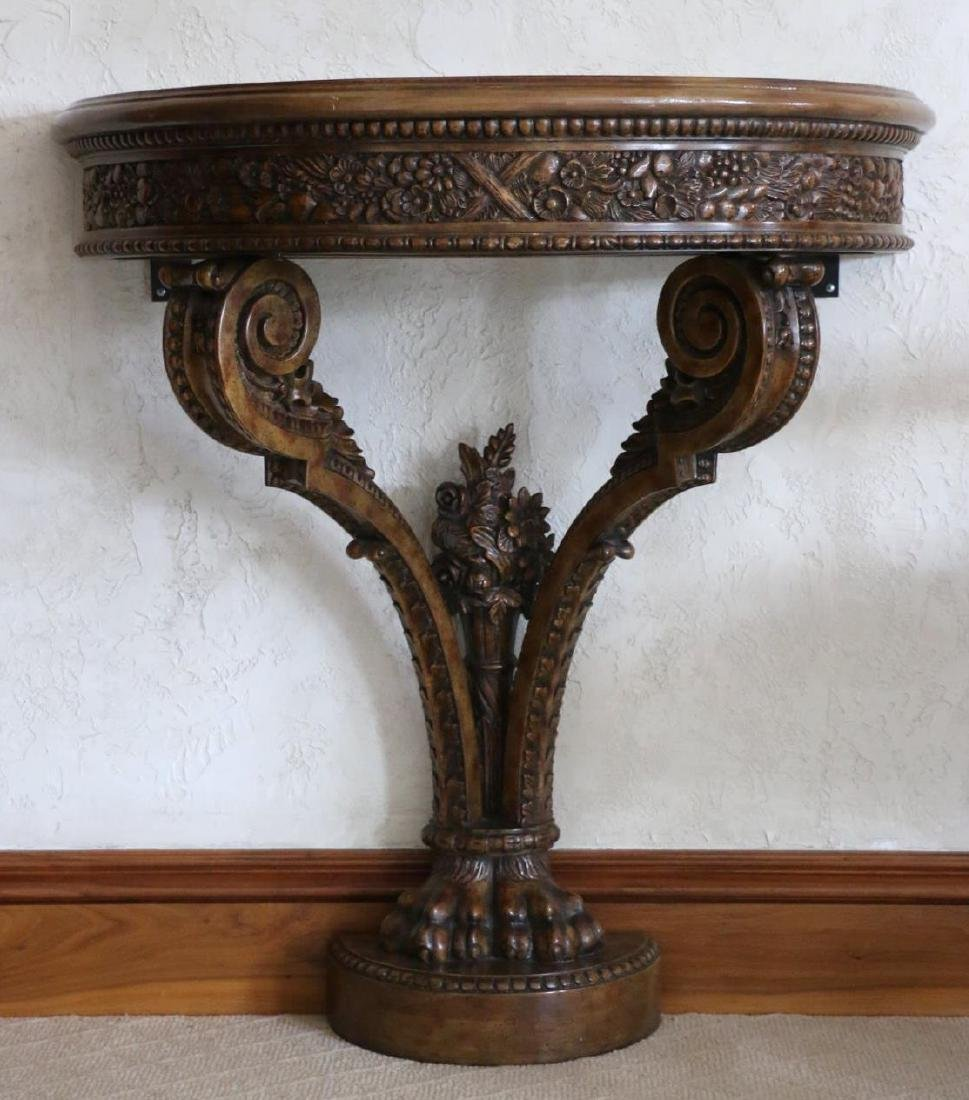 MAITLAND SMITH HAND CARVED DEMILUNE CONSOLE TABLE - 2