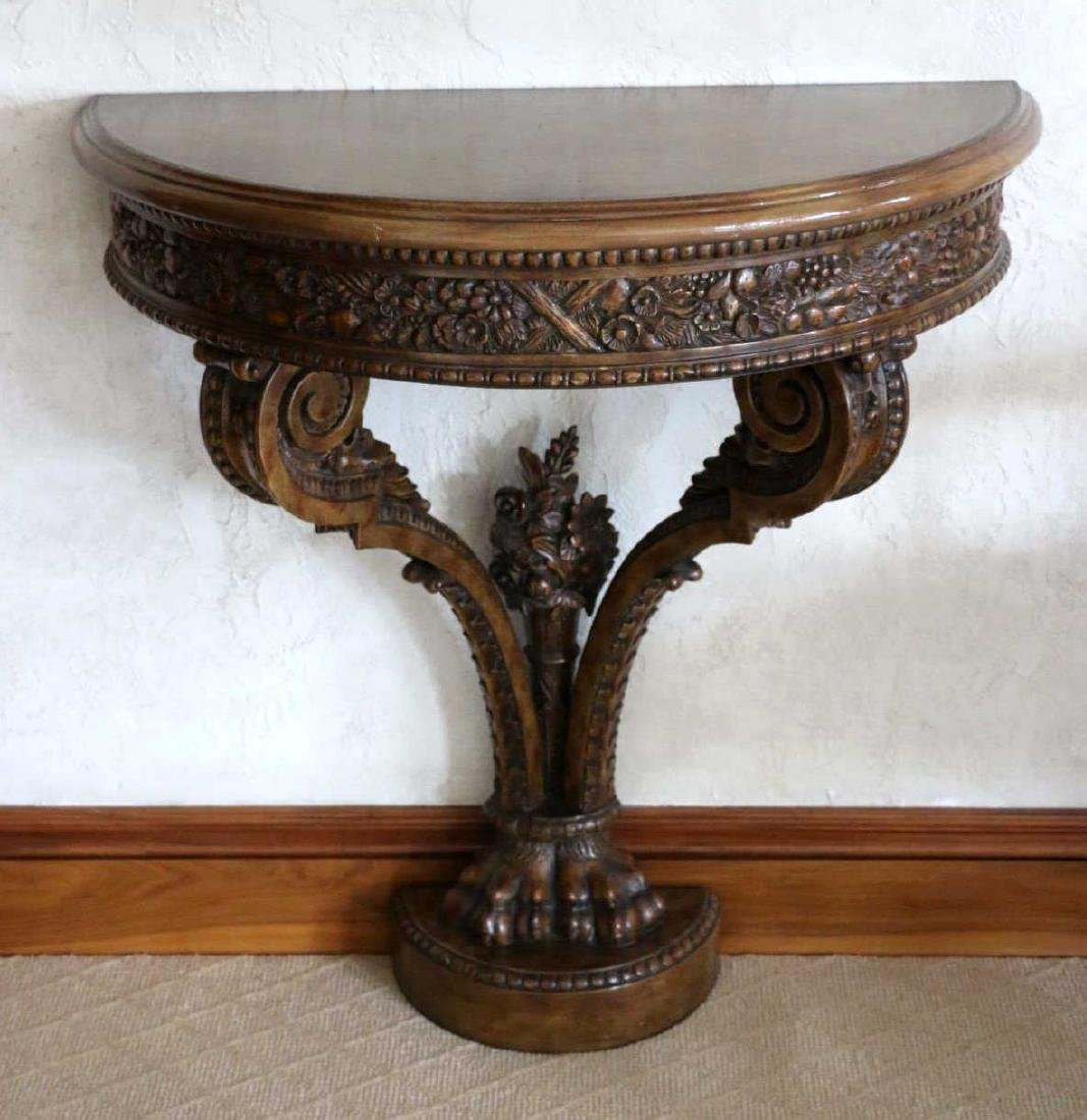 MAITLAND SMITH HAND CARVED DEMILUNE CONSOLE TABLE - 4