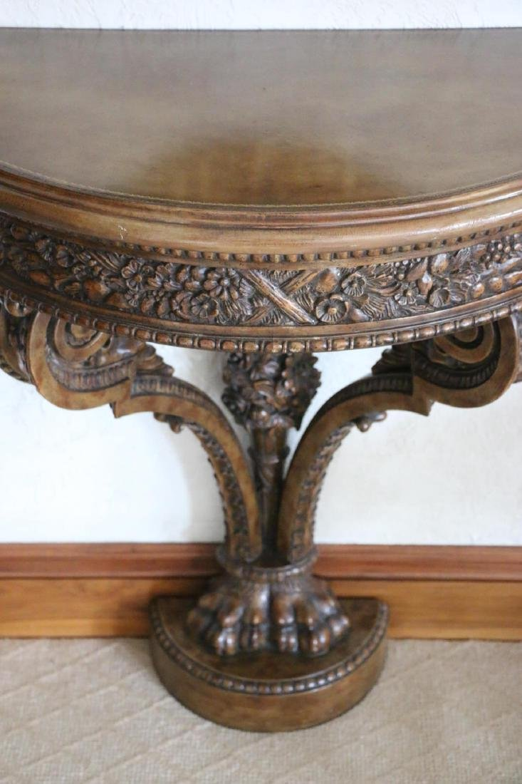 MAITLAND SMITH HAND CARVED DEMILUNE CONSOLE TABLE - 6