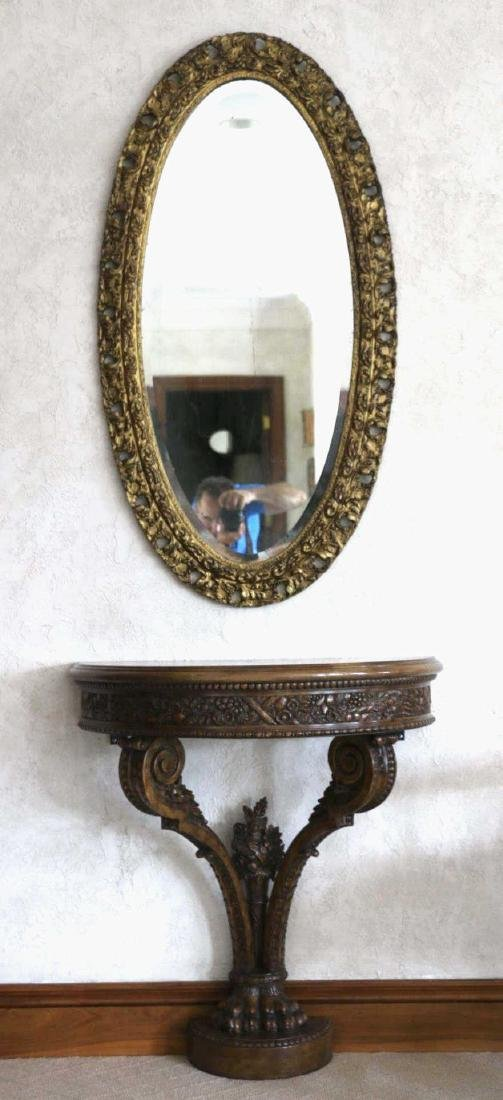MAITLAND SMITH HAND CARVED DEMILUNE CONSOLE TABLE - 8
