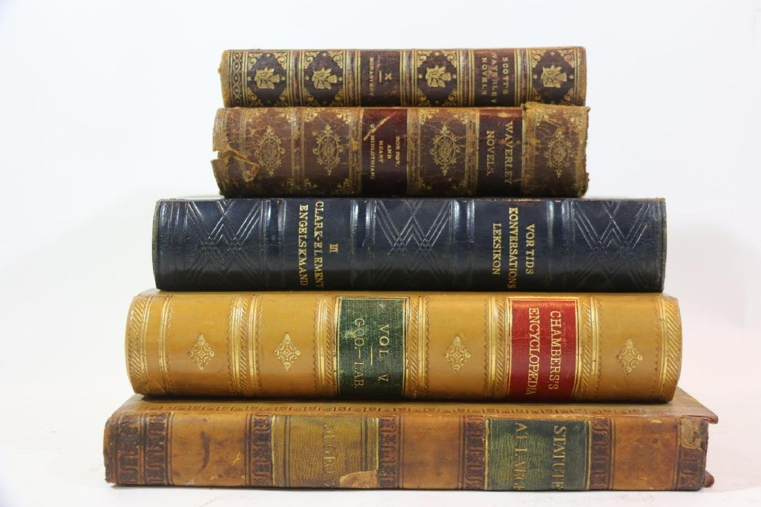 ANTIQUE LEATHER BOUND ANTIQUE BOOK GROUPING
