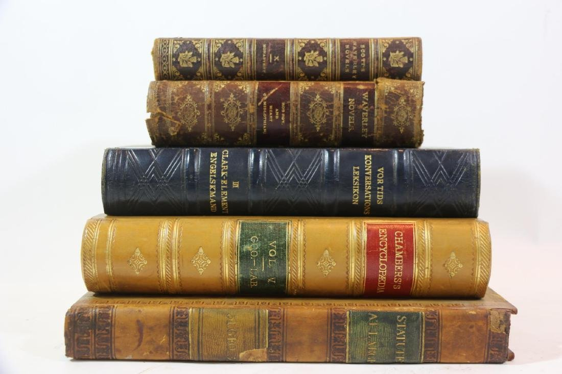 ANTIQUE LEATHER BOUND ANTIQUE BOOK GROUPING - 2