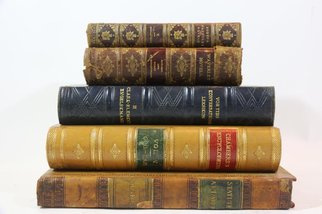 ANTIQUE LEATHER BOUND ANTIQUE BOOK GROUPING - 3