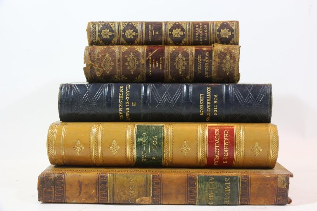 ANTIQUE LEATHER BOUND ANTIQUE BOOK GROUPING - 4