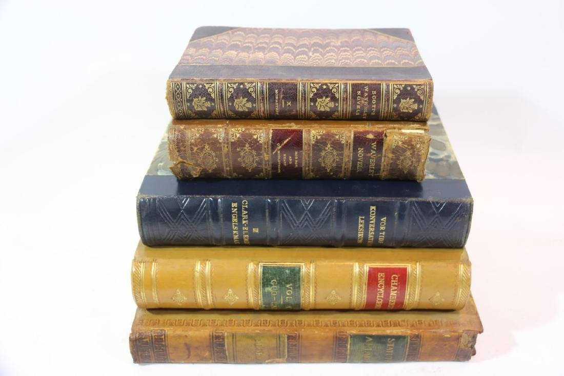 ANTIQUE LEATHER BOUND ANTIQUE BOOK GROUPING - 6