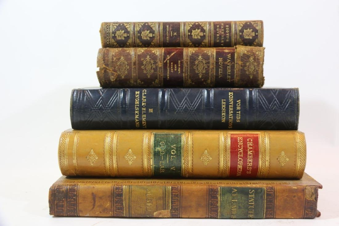 ANTIQUE LEATHER BOUND ANTIQUE BOOK GROUPING - 7
