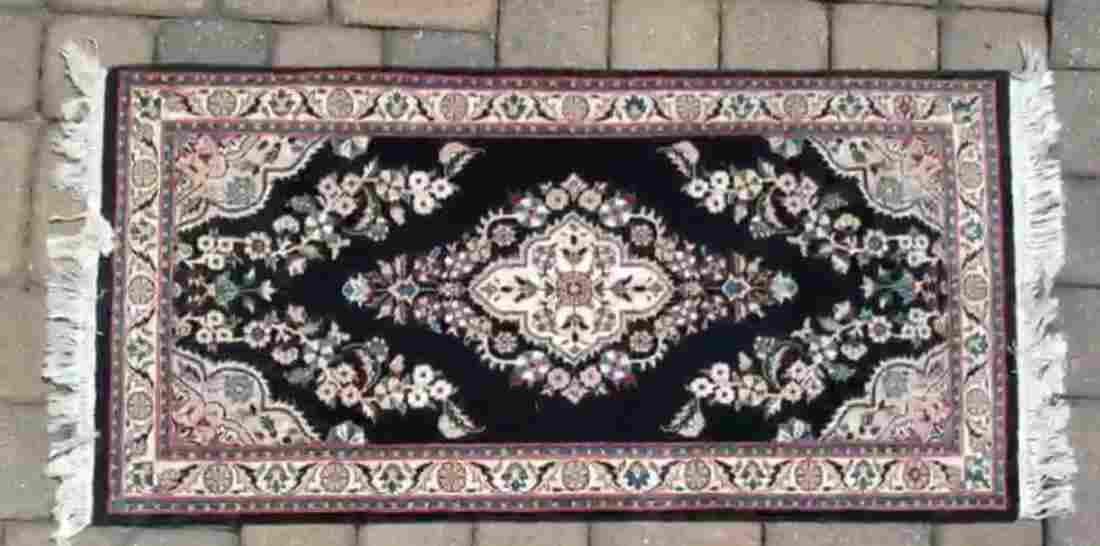 PERSIAN KERMAN HAND KNOTTED AREA RUG