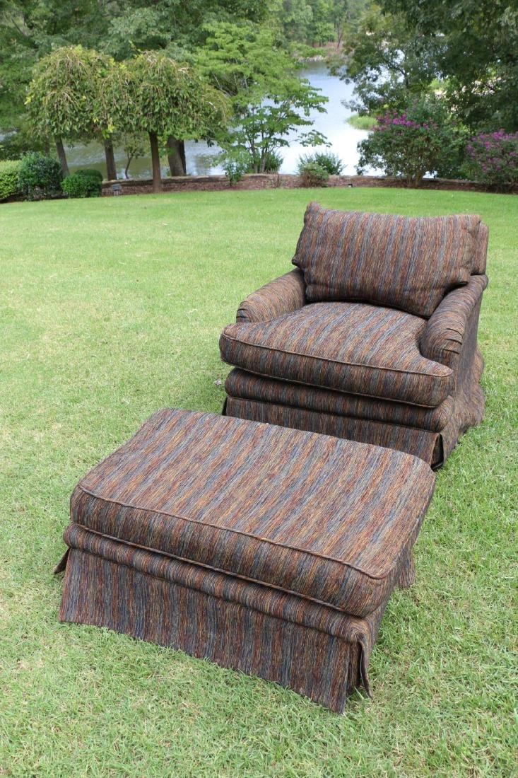TOMLINSON CUSTOM UPHOLSTERED CLUB CHAIR & OTTOMAN - 2