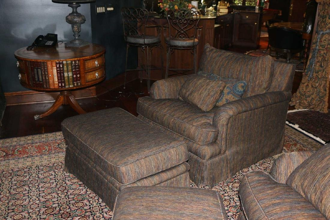 TOMLINSON CUSTOM UPHOLSTERED CLUB CHAIR & OTTOMAN - 5