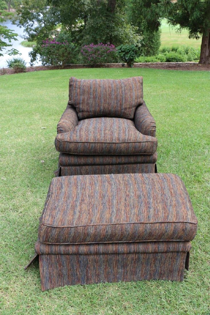TOMLINSON CUSTOM UPHOLSTERED CLUB CHAIR & OTTOMAN - 8