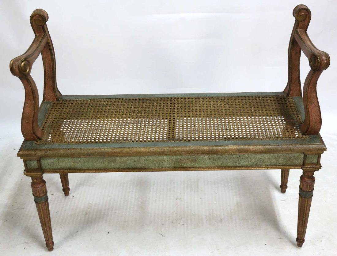 CHELSEA HOUSE FRENCH MODERN CANED & PAINTED BENCH