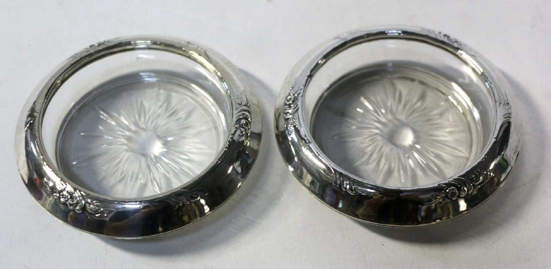 STERLING SILVER & CUT GLASS  COASTER GROUPING