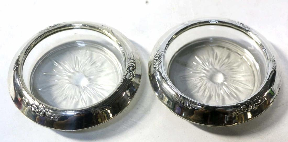 STERLING SILVER & CUT GLASS  COASTER GROUPING - 4