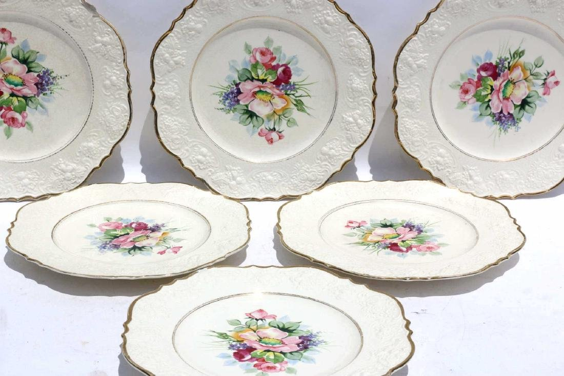 FLORAL PORCELAIN PLATE GROUPING - 6