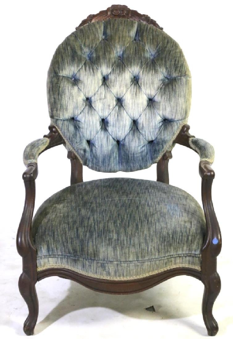AMERICAN ANTIQUE VICTORIAN TUFTED ARMCHAIR - 2