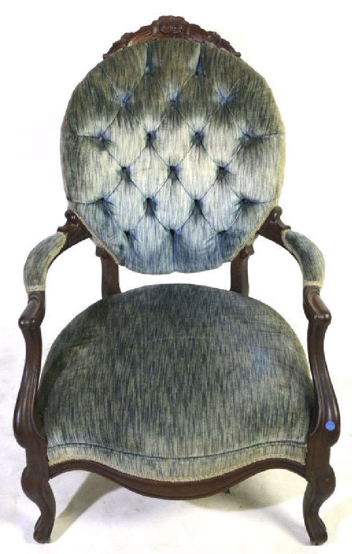 AMERICAN ANTIQUE VICTORIAN TUFTED ARMCHAIR - 3