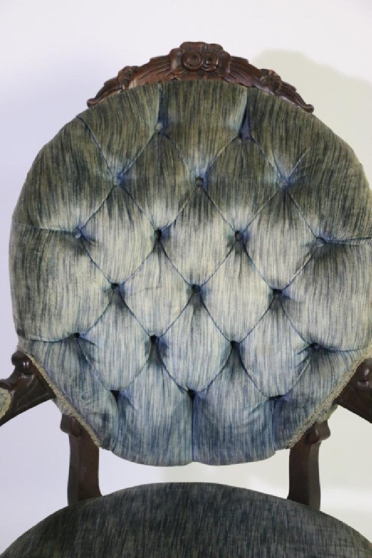 AMERICAN ANTIQUE VICTORIAN TUFTED ARMCHAIR - 4