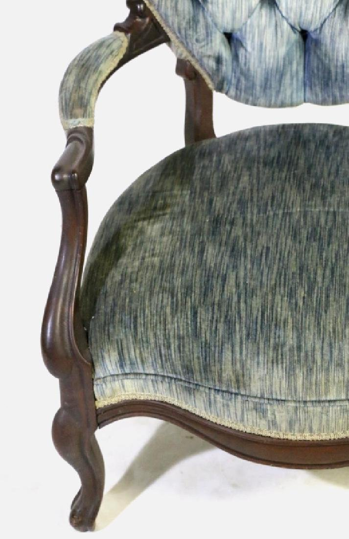 AMERICAN ANTIQUE VICTORIAN TUFTED ARMCHAIR - 5