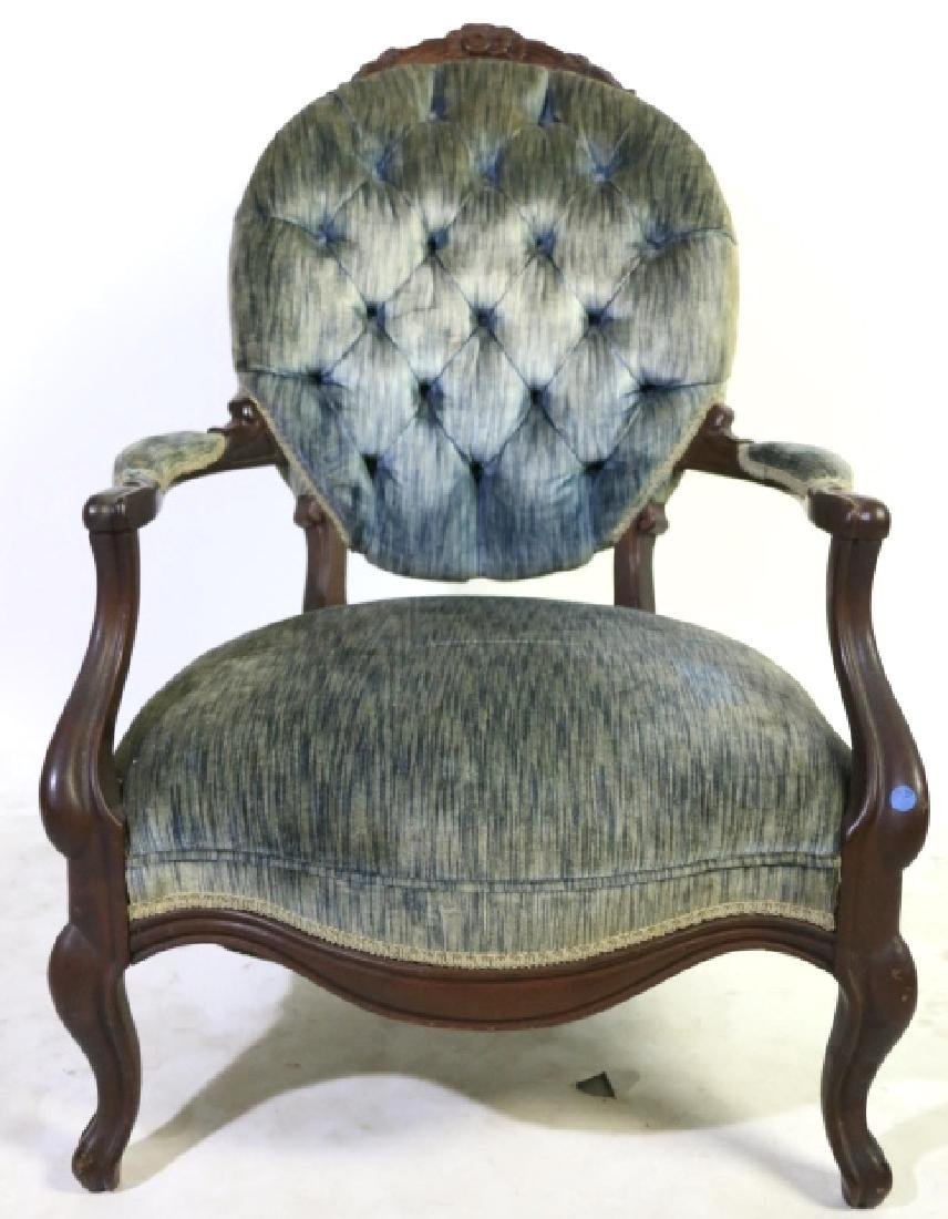 AMERICAN ANTIQUE VICTORIAN TUFTED ARMCHAIR - 6