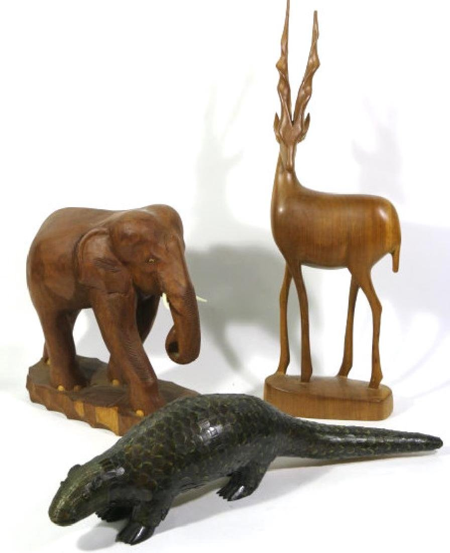 MIDCENTURY MODERN CARVED AFRICAN ANIMAL GROUPING - 2