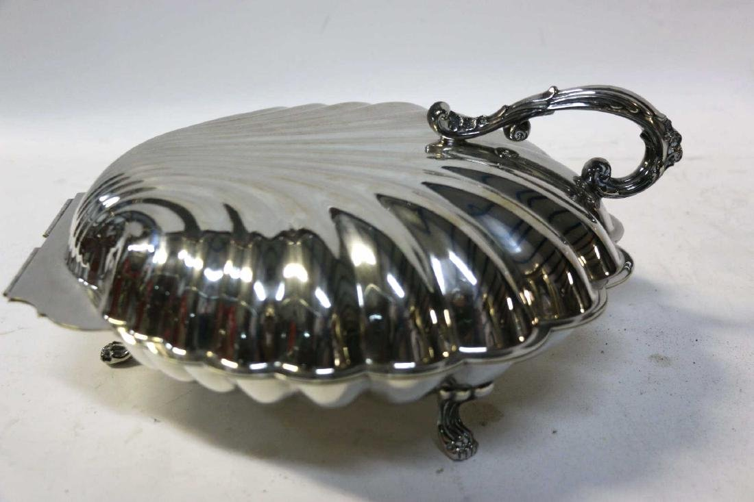 ENGLISH SILVER SCALLOPED & FOOTED CLAMSHELL SERVER - 2