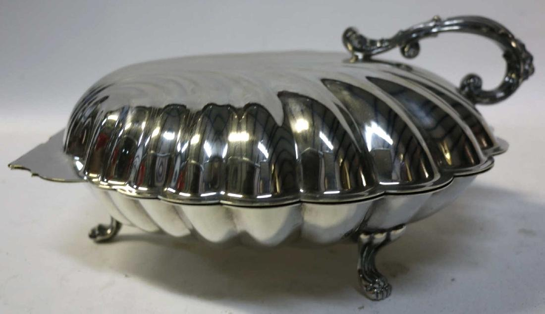 ENGLISH SILVER SCALLOPED & FOOTED CLAMSHELL SERVER - 3