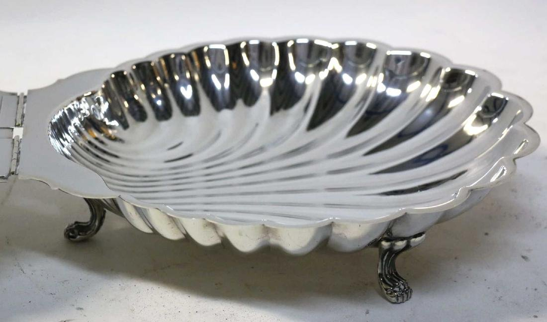 ENGLISH SILVER SCALLOPED & FOOTED CLAMSHELL SERVER - 6